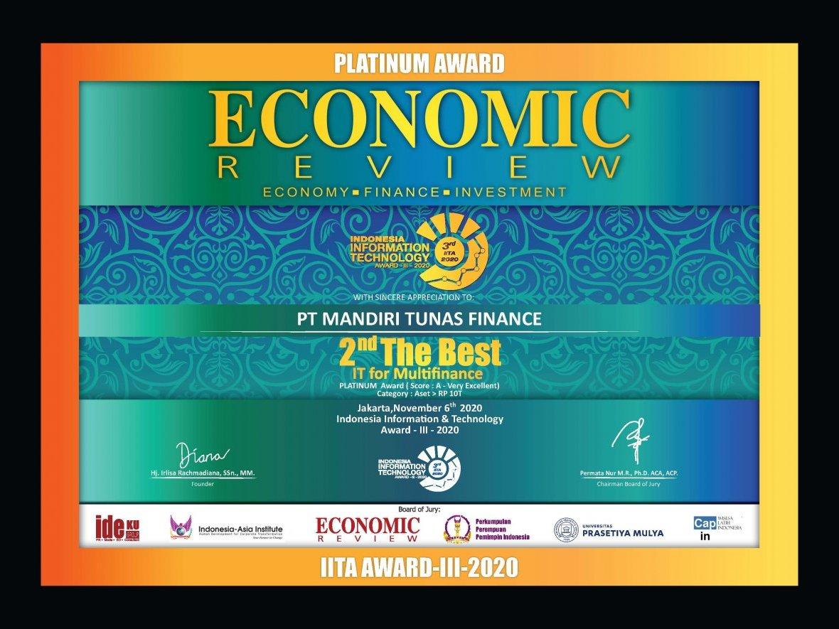 MTF Raih Penghargaan 2nd The Best IT For Multifinance 2020