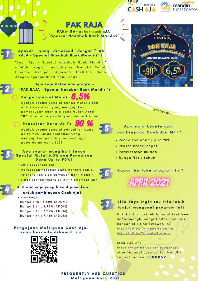 Cash Aja Pak Raja Nasabah BMRI April 2021